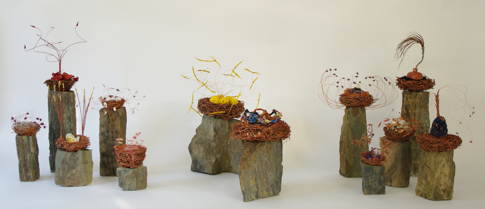 2008<br>birds nests, slate, natural materials