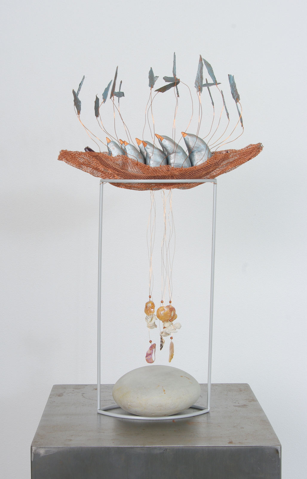 2015<br>26 x 17 x 45 cm<br>copper mesh, paperclay, eucalyptus, shells, stone